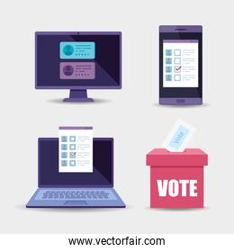 laptop with set objects for vote