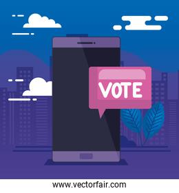 smartphone for vote online with speech bubble