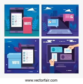 set poster of vote with icons
