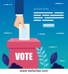 poster of vote online with hand and ballot box
