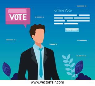 poster of vote online with business man
