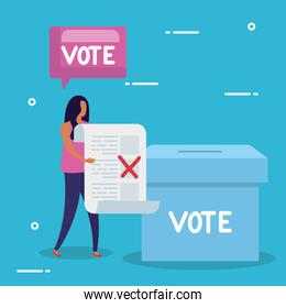 business woman with ballot box and speech bubble