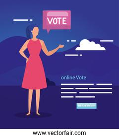 poster of vote online with business woman