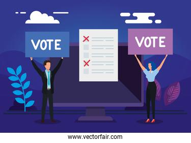 business couple with computer for vote online