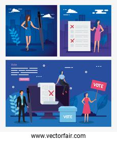 set poster vote with business people and icons