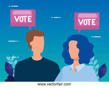 business couple with speech bubble and vote lettering