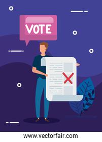 businessman with vote form and speech bubble