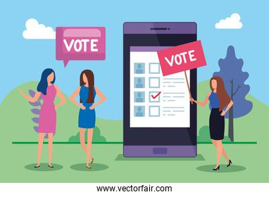 business people with vote lettering and smartphone