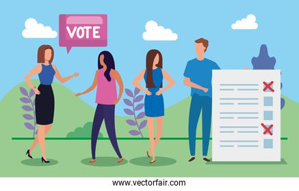 business people with vote lettering in landscape