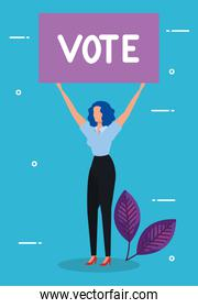 faceless business woman and placard protest with vote lettering