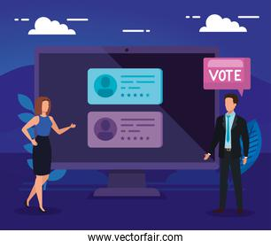 business people with computer for vote online