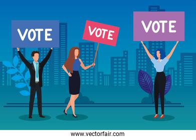 business people and protest placard with vote lettering