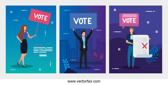 set poster of vote with business people