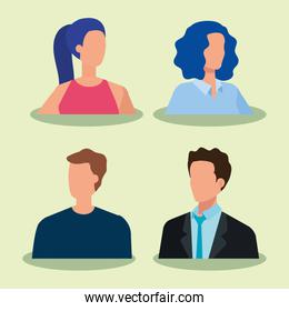 group of business people elegant avatar character