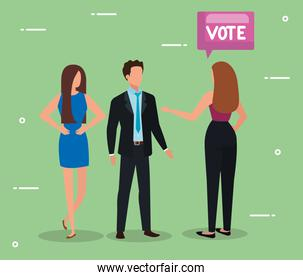 business people with vote lettering in speech bubble