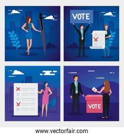 set scenes of business people for voting