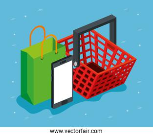 basket with bag shopping and smartphone