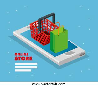 online store with smartphone and icons