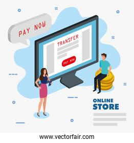 online store with computer and icons