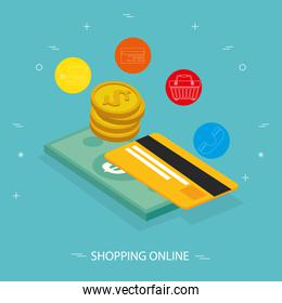 online store with credit card and icon