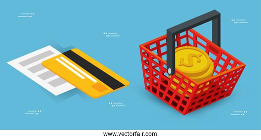 basket shopping with credit card and pile coins