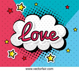love sign in cloud pop art style icon