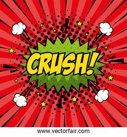 crush expression with explosion pop art style