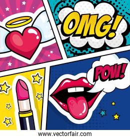 lipstick with expressions and heart pop art style