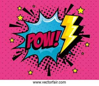 pow expression with explosion and thunderbolt pop art style