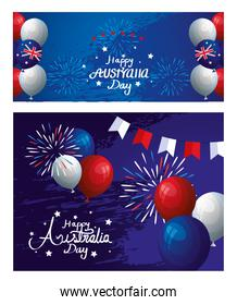 set poster of happy australia day with decoration