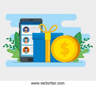 gift box with smartphone and coin isolated icon