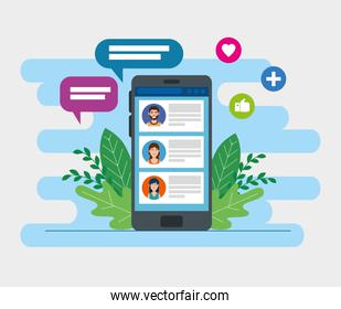 smartphone device with chat and social media icons