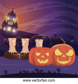 halloween dark scene with pumpkins and candles