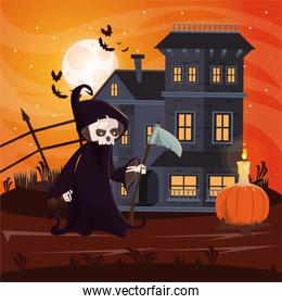 halloween dark scene with person disguised of death