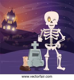 halloween dark scene with skeleton