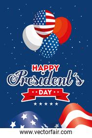 Balloons and flag of usa happy presidents day vector design