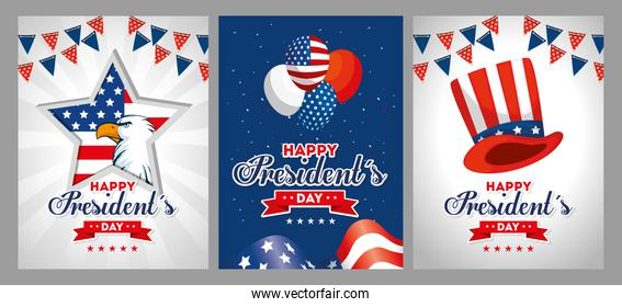 Eagle balloons and hat of usa happy presidents day vector design