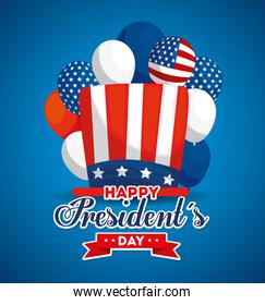 Hat and balloons of usa happy presidents day vector design