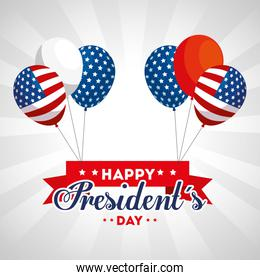 Balloons of usa happy presidents day vector design