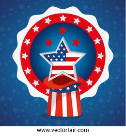 Star hat and seal stamp of usa happy presidents day vector design