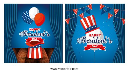 Hats and balloons of usa happy presidents day vector design