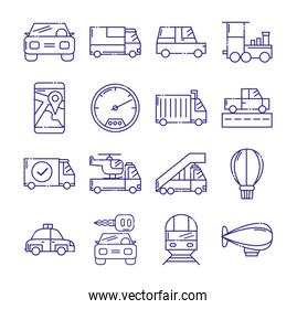 Isolated vehicles icon set vector design