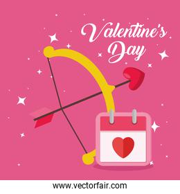 happy valentines day card with arch cupid and calendar