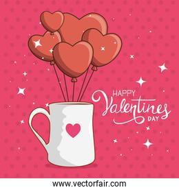 happy valentines day card with mug and balloons helium