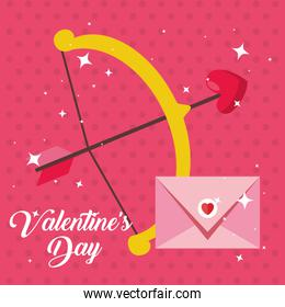 happy valentines day card with arch cupid and envelope