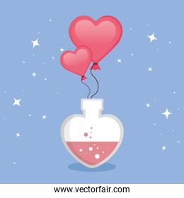 fragrance with heart bottle and balloons helium