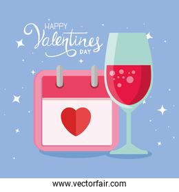 happy valentines day card with calendar and cup drink