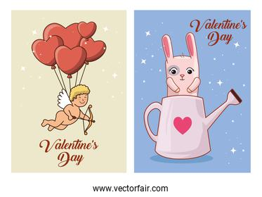 set of happy valentines day cards with decoration