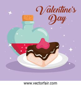 happy valentines day card with fragrance and slice cake