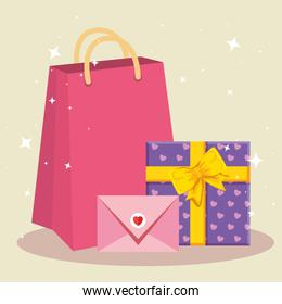 gift box with bag shopping and envelope